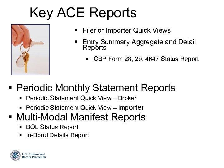 ACE Update and Broker Benefits Agenda