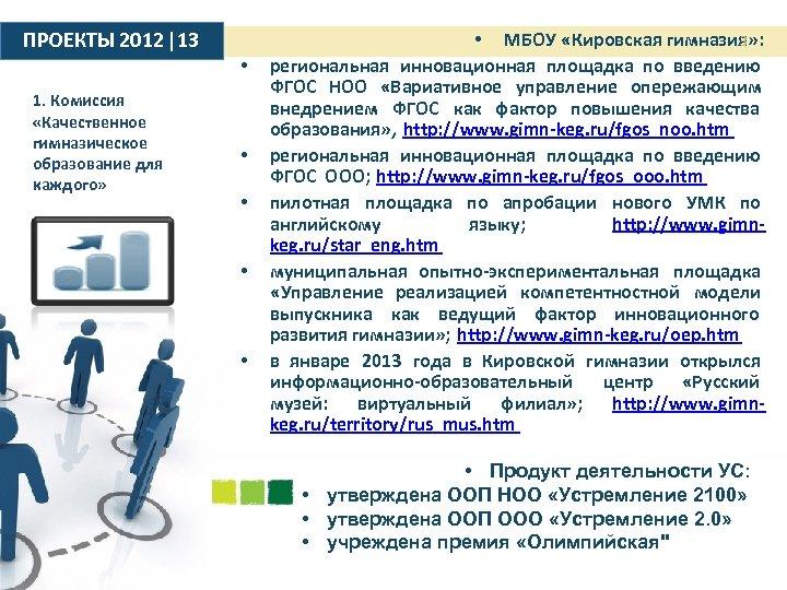 ПРОЕКТЫ 2012 |13 • 1. Комиссия «Качественное гимназическое образование для каждого» • • 3