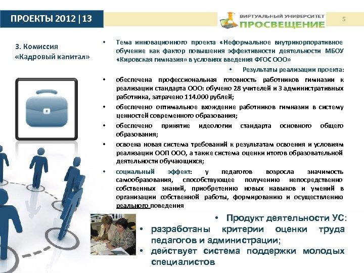 ПРОЕКТЫ 2012 |13 3. Комиссия «Кадровый капитал» 5 • • • Тема инновационного проекта