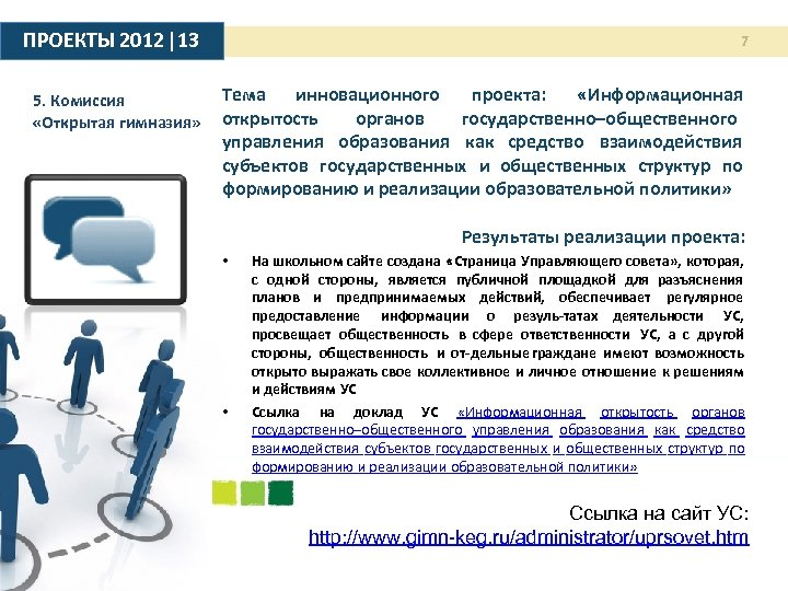 ПРОЕКТЫ 2012 |13 7 Тема инновационного проекта: «Информационная 5. Комиссия органов государственно–общественного «Открытая гимназия»