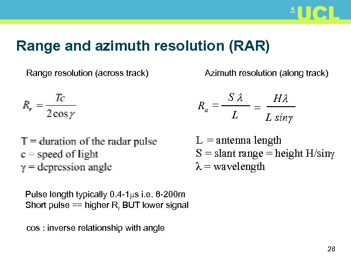 Range and azimuth resolution (RAR) Range resolution (across track) Azimuth resolution (along track) Ra
