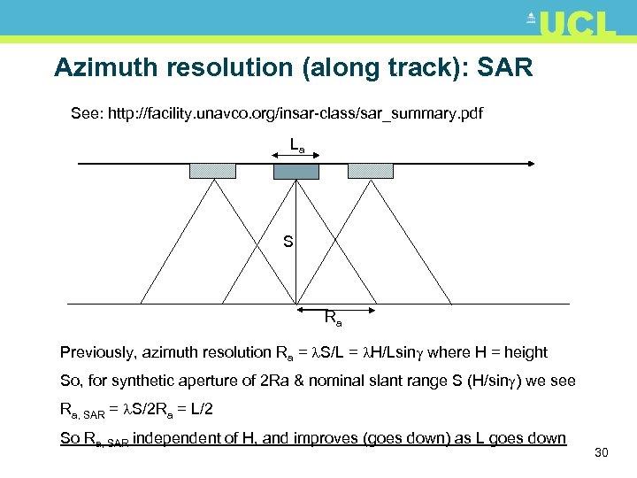 Azimuth resolution (along track): SAR See: http: //facility. unavco. org/insar-class/sar_summary. pdf La S Ra