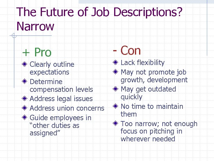 The Future of Job Descriptions? Narrow + Pro Clearly outline expectations Determine compensation levels