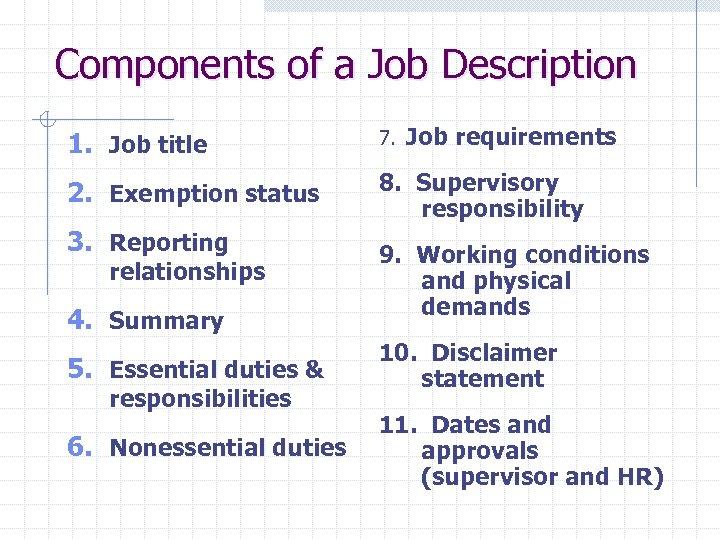 Components of a Job Description 1. Job title 7. Job 2. Exemption status 8.