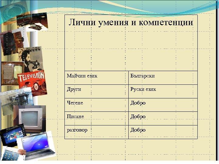 Лични умения и компетенции Майчин език Български Други Руски език Четене Добро Писане Добро