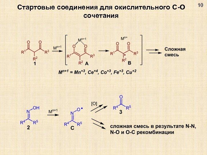 Стартовые соединения для окислительного C-O сочетания 10