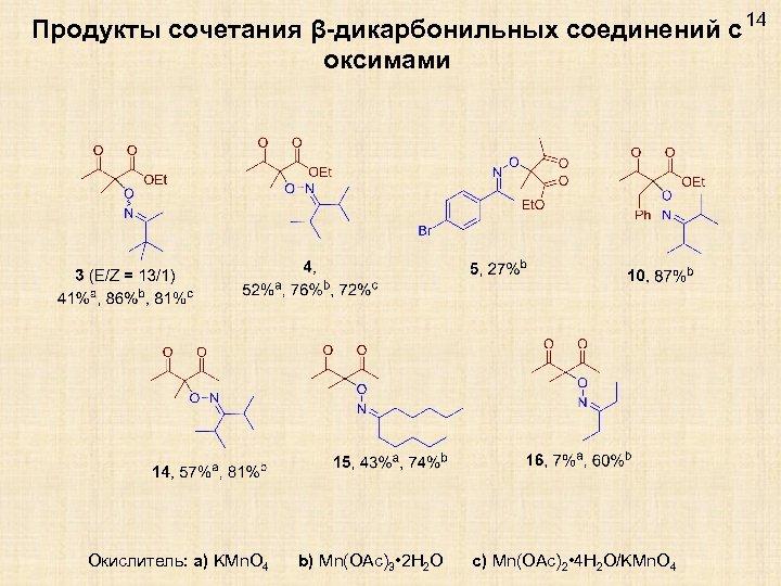 Продукты сочетания β-дикарбонильных соединений с 14 оксимами Окислитель: a) KMn. O 4 b) Mn(OAc)3