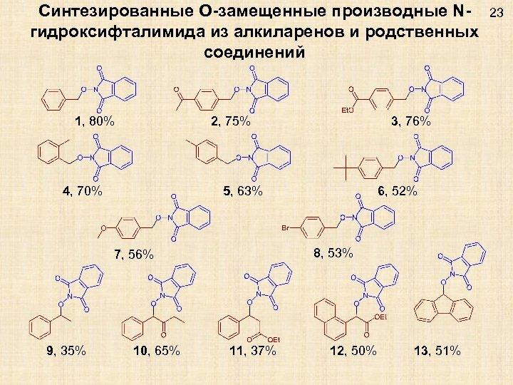 Синтезированные O-замещенные производные Nгидроксифталимида из алкиларенов и родственных соединений 1, 80% 2, 75% 4,