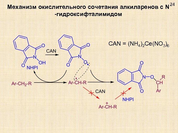 Механизм окислительного сочетания алкиларенов с N -гидроксифталимидом CAN = (NH 4)2 Ce(NO 3)6 24