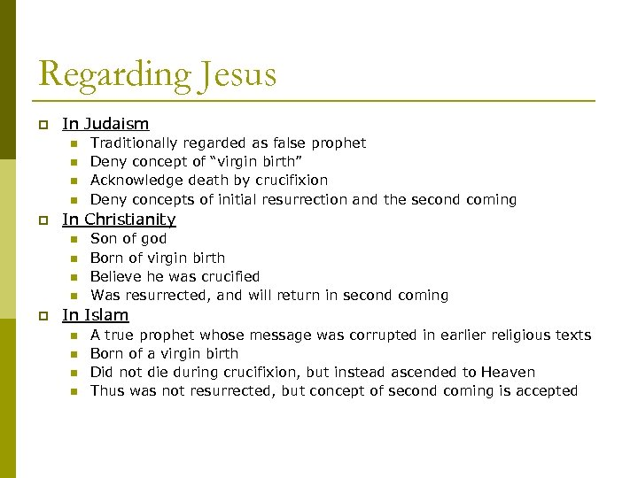 Regarding Jesus p In Judaism n n p In Christianity n n p Traditionally