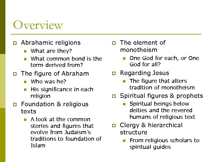 Overview p Abrahamic religions n n p What are they? What common bond is