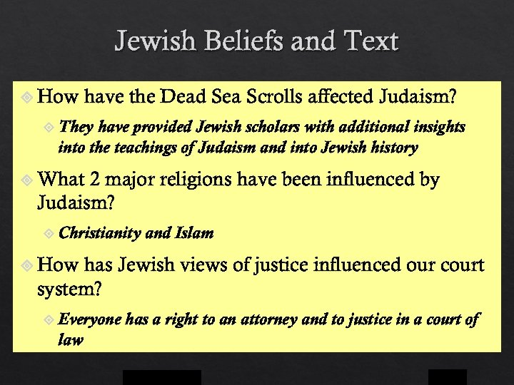 Jewish Beliefs and Text How have the Dead Sea Scrolls affected Judaism? They have