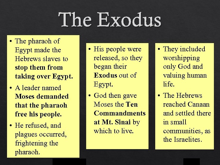 The Exodus • The pharaoh of Egypt made the Hebrews slaves to stop them