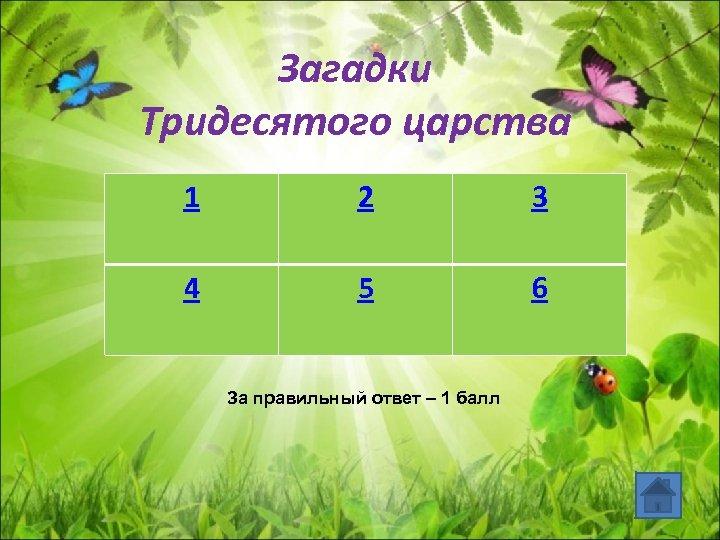 Загадки Тридесятого царства 1 2 3 4 5 6 За правильный ответ – 1