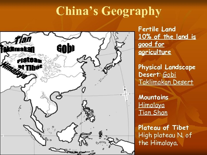 China's Geography Fertile Land 10% of the land is good for agriculture Physical Landscape