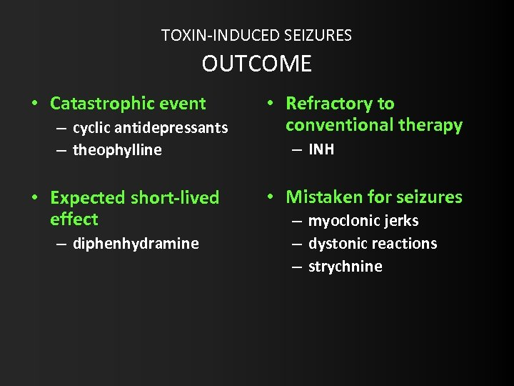 TOXIN-INDUCED SEIZURES OUTCOME • Catastrophic event – cyclic antidepressants – theophylline • Expected short-lived