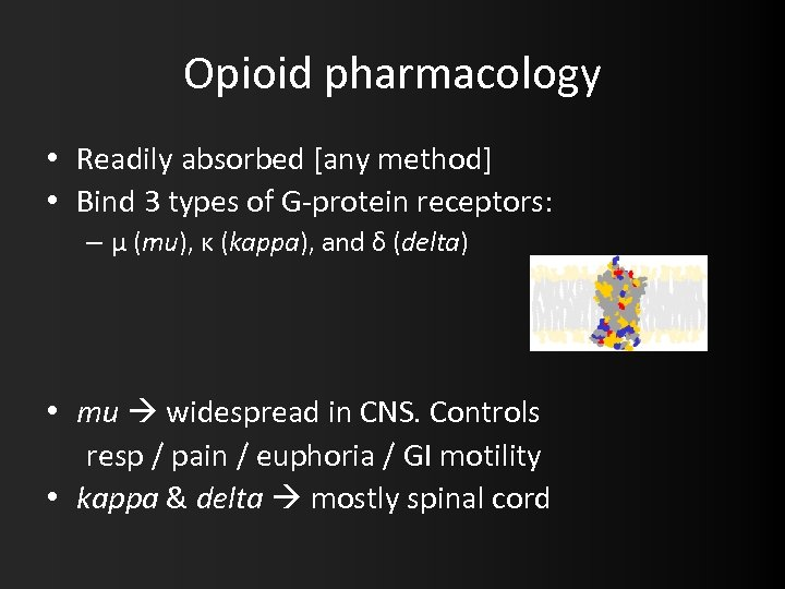 Opioid pharmacology • Readily absorbed [any method] • Bind 3 types of G-protein receptors: