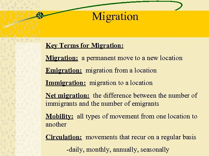Migration Key Terms for Migration: a permanent move to a new location Emigration: migration