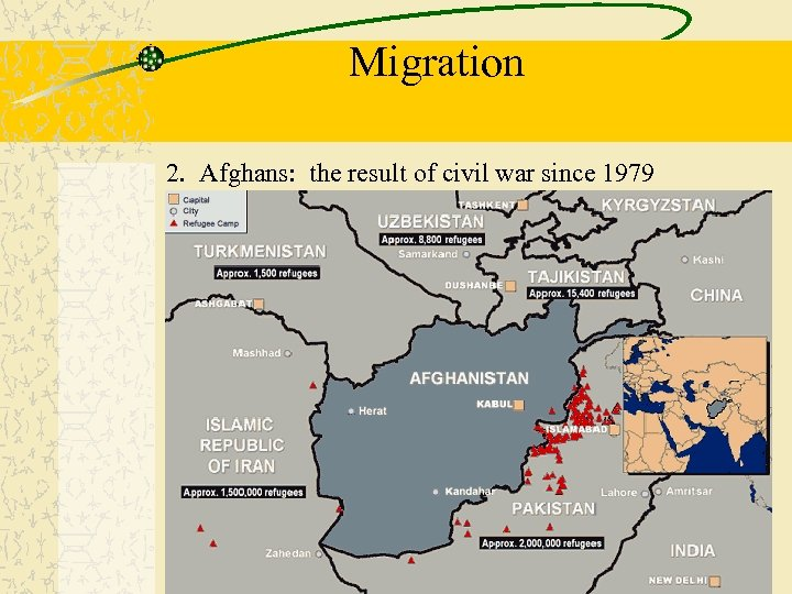Migration 2. Afghans: the result of civil war since 1979