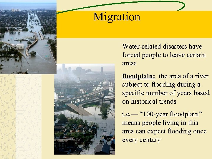 Migration Water-related disasters have forced people to leave certain areas floodplain: the area of