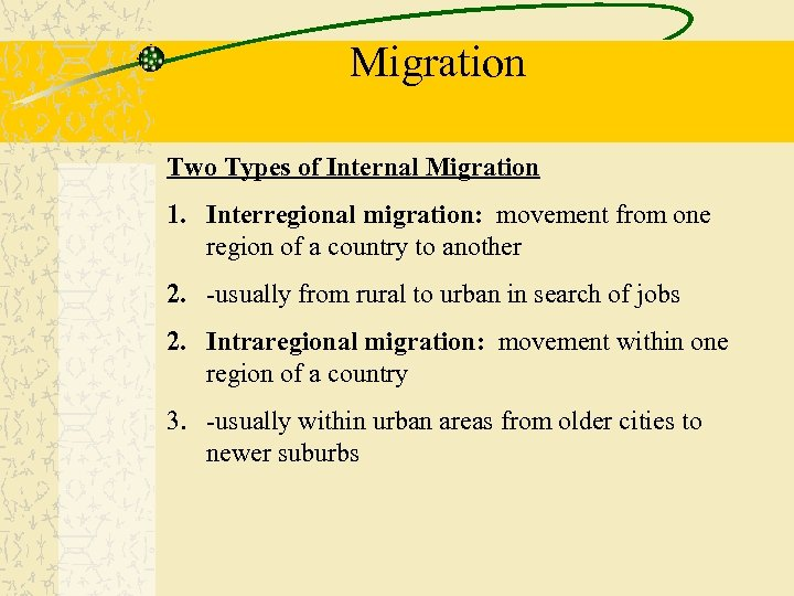 Migration Two Types of Internal Migration 1. Interregional migration: movement from one region of
