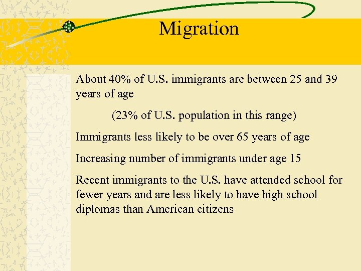 Migration About 40% of U. S. immigrants are between 25 and 39 years of