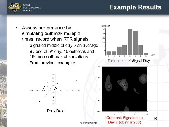 Example Results • Assess performance by simulating outbreak multiple times, record when RTR signals