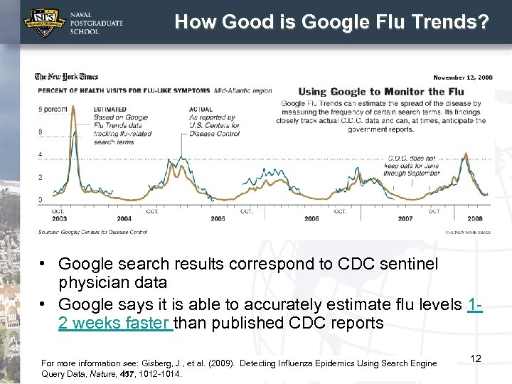 How Good is Google Flu Trends? • Google search results correspond to CDC sentinel