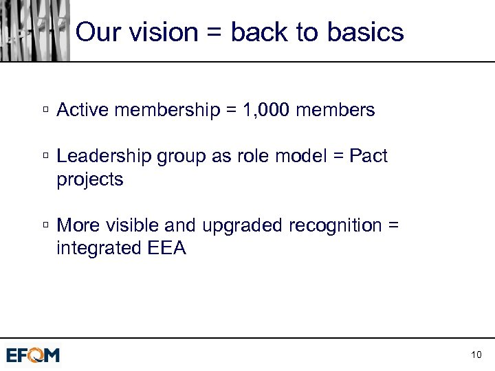 Our vision = back to basics ú Active membership = 1, 000 members ú