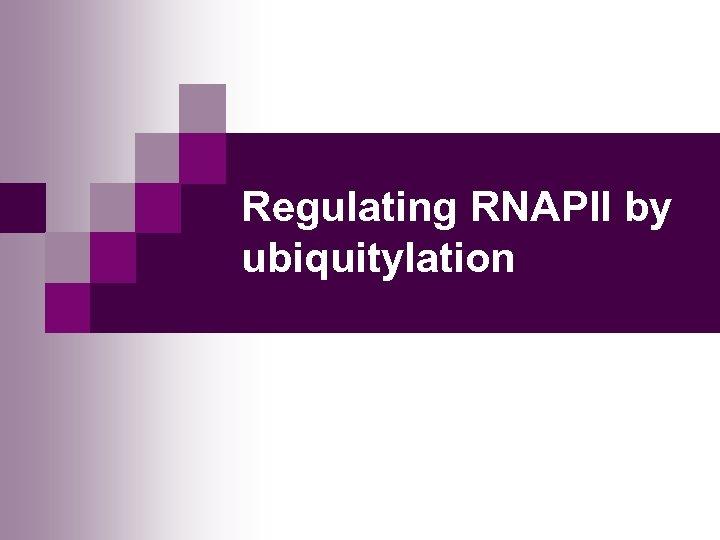Regulating RNAPII by ubiquitylation