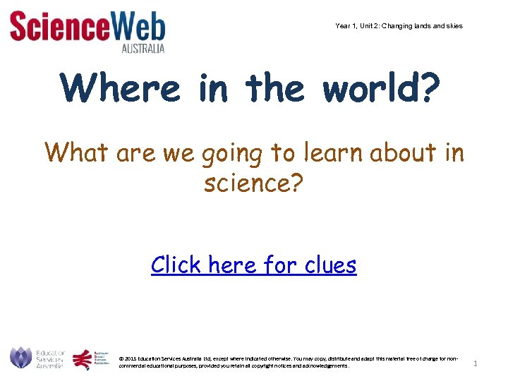 Year 1, Unit 2: Changing lands and skies Where in the world? What are