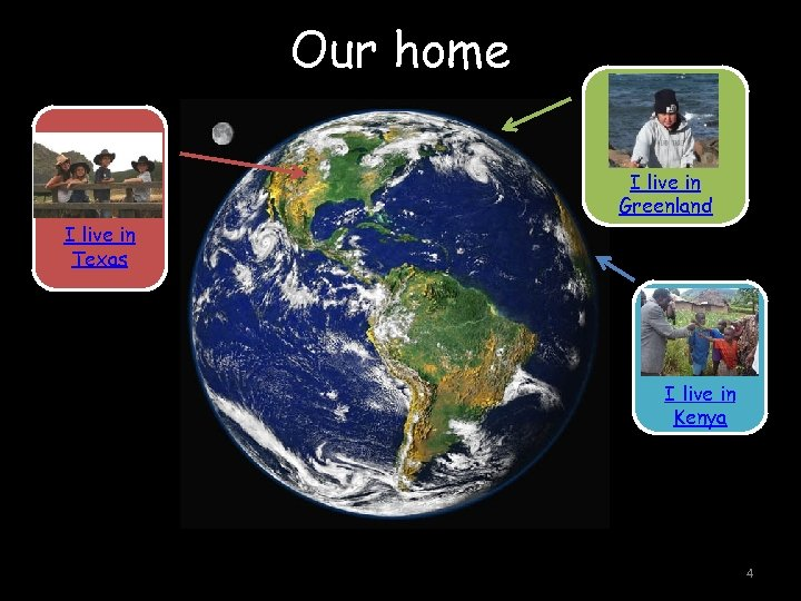 Our home I live in Greenland I live in Texas I live in Kenya