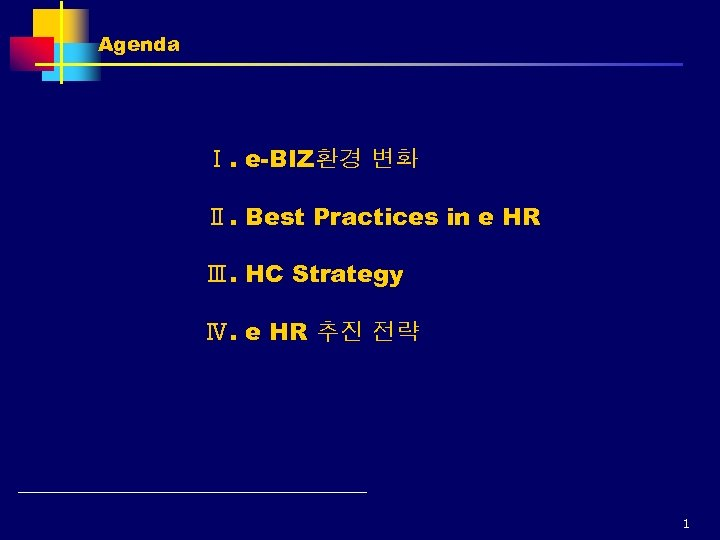 Agenda Ⅰ. e-BIZ환경 변화 Ⅱ. Best Practices in e HR Ⅲ. HC Strategy Ⅳ.