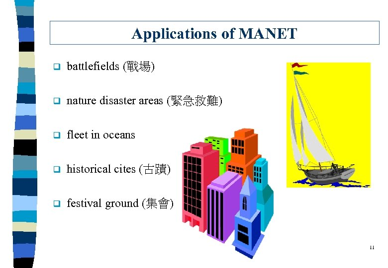 Applications of MANET q battlefields (戰場) q nature disaster areas (緊急救難) q fleet in