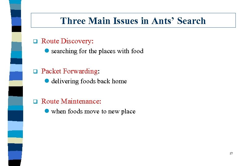 Three Main Issues in Ants' Search q Route Discovery: l searching for the places