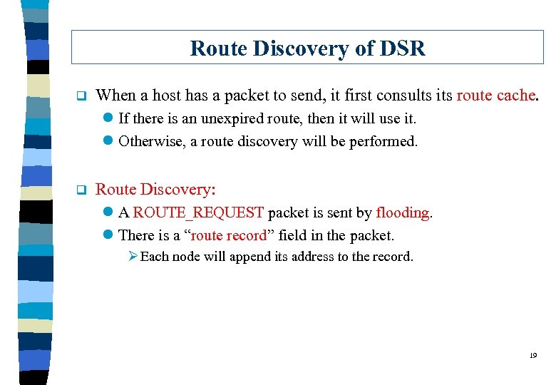 Route Discovery of DSR q When a host has a packet to send, it