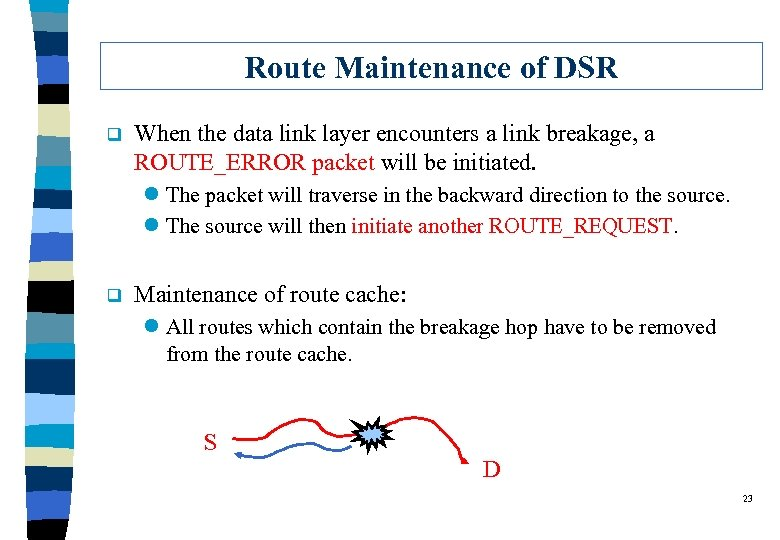 Route Maintenance of DSR q When the data link layer encounters a link breakage,
