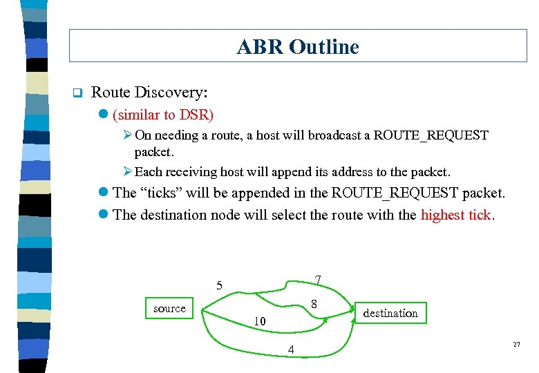 ABR Outline q Route Discovery: l (similar to DSR) Ø On needing a route,