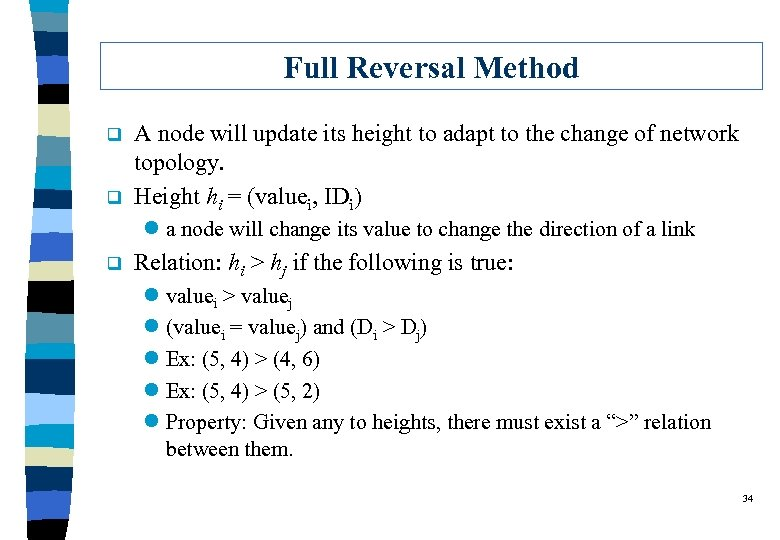 Full Reversal Method q q A node will update its height to adapt to