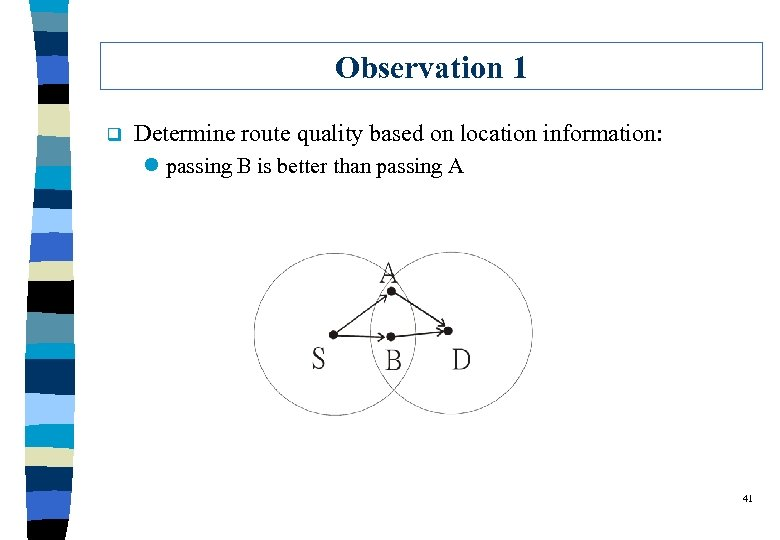 Observation 1 q Determine route quality based on location information: l passing B is