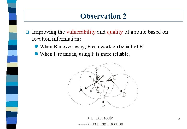 Observation 2 q Improving the vulnerability and quality of a route based on location
