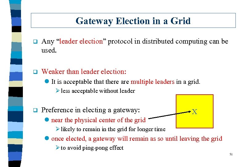 """Gateway Election in a Grid q Any """"leader election"""" protocol in distributed computing can"""