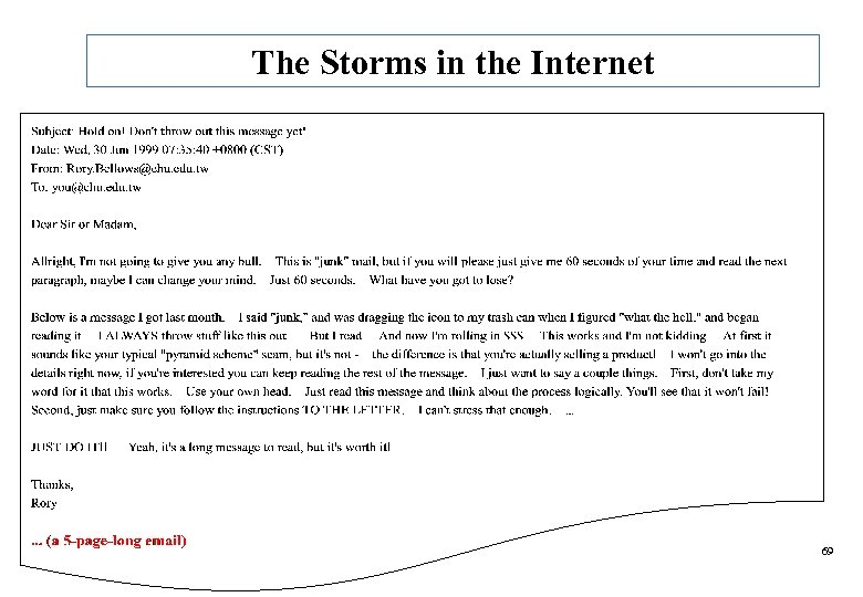 The Storms in the Internet 69