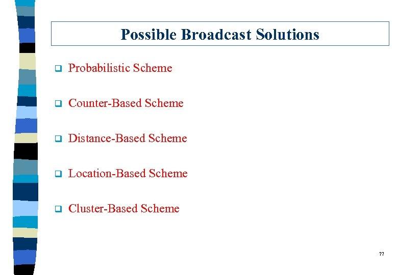 Possible Broadcast Solutions q Probabilistic Scheme q Counter-Based Scheme q Distance-Based Scheme q Location-Based
