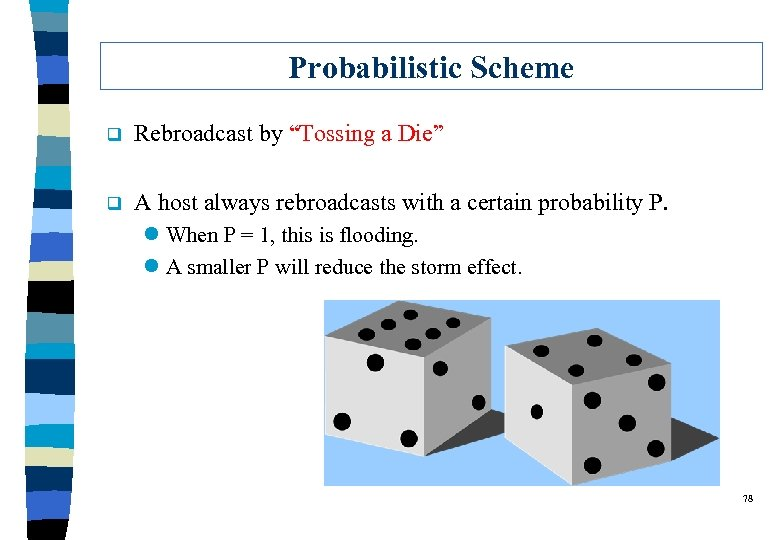 """Probabilistic Scheme q Rebroadcast by """"Tossing a Die"""" q A host always rebroadcasts with"""