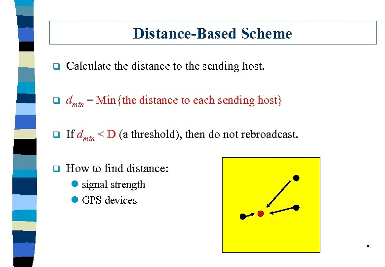 Distance-Based Scheme q Calculate the distance to the sending host. q dmin = Min{the