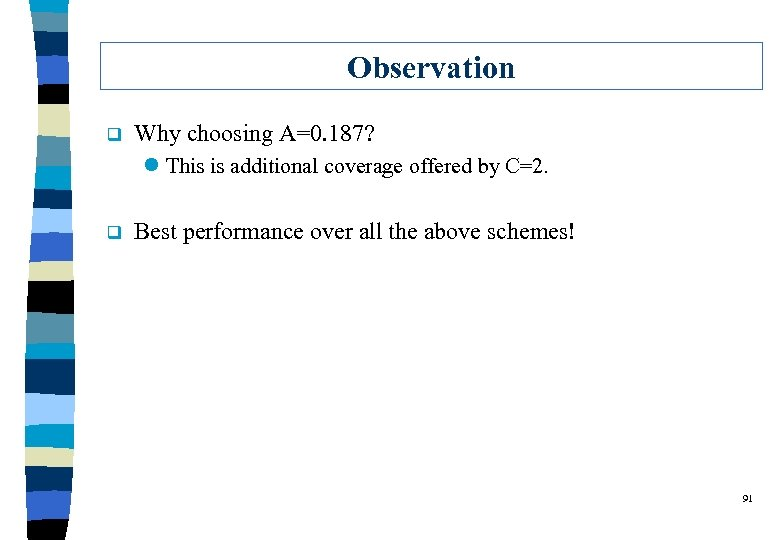 Observation q Why choosing A=0. 187? l This is additional coverage offered by C=2.