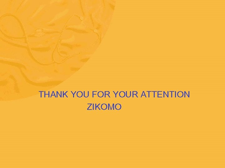 THANK YOU FOR YOUR ATTENTION ZIKOMO