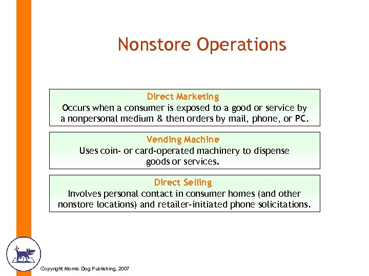 Nonstore Operations Direct Marketing Occurs when a consumer is exposed to a good or