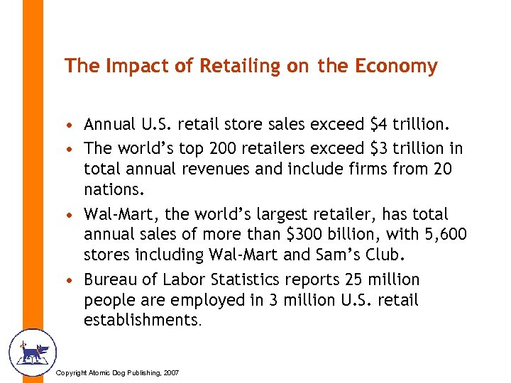 The Impact of Retailing on the Economy • Annual U. S. retail store sales